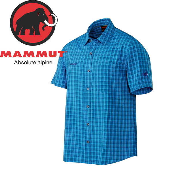 【MAMMUT 瑞士 男款 Lenni Shirt《大西洋藍》】1030-01830/格紋襯衫/吸濕排汗/短袖