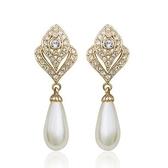 耳環 玫瑰金 925純銀鑲鑽-古典氣質生日情人節禮物女飾品2色73gs122【時尚巴黎】