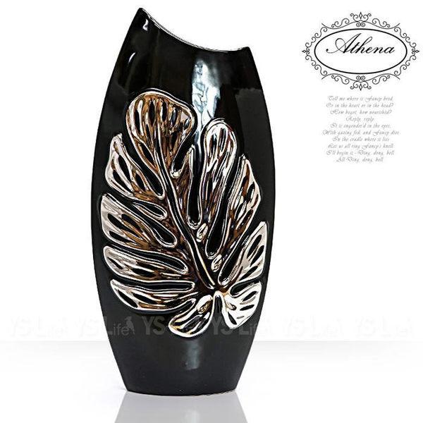 印度安娜花/電信蘭黑底銀陶瓷圓斜口花器