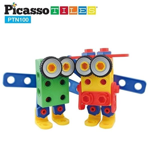 [強強滾]PicassoTiles PTN100 畢卡索STEM+A螺母工匠積木組