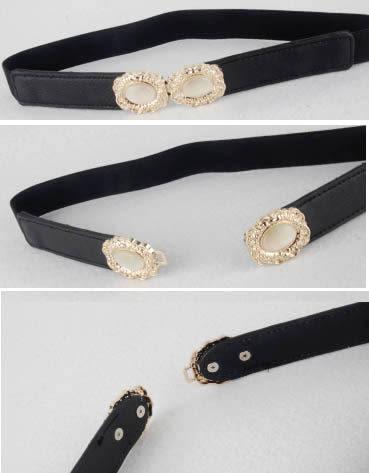 來福皮帶,H454皮帶甜美金色寶石對扣彈力鬆緊細腰帶皮帶,售價138元