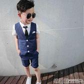 禮服 兒童小西服禮服短袖夏季韓版男童修身西裝寶寶馬甲套裝花童演出服  瑪麗蘇