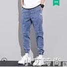 夏季薄款牛仔褲男2021年春秋新款修身直筒潮牌休閒束腳工裝九分褲 小艾新品