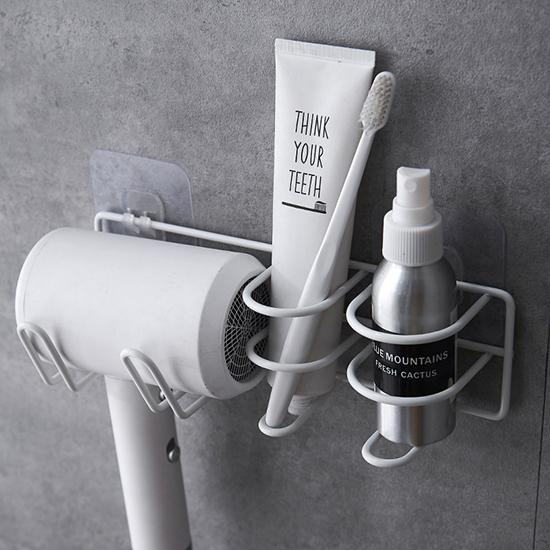 牙刷架 瀝水架 吹風機架 無痕掛勾 牙膏架 圓架 置物架 收納 鐵藝 萬用吹風機架【R030】米菈生活館
