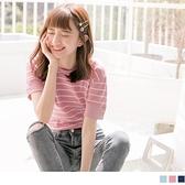 《AB10121》台灣製造. 袖排釦設計橫條紋配色細針織上衣 OrangeBear