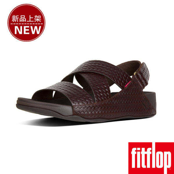 【FitFlop】男款-CHI BACK-STRAP SANDALS IN WOVEN EMBOSSED LEATHER(巧克力棕)