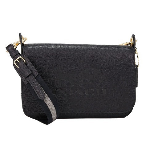 COACH 壓印馬車荔枝皮革寬織紋背帶翻蓋大型記者斜背包(黑色)