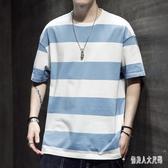 夏季短袖T恤男士韓版條紋寬鬆打底衫男裝上衣服棉質體恤半截袖insXL3951【俏美人大尺碼】