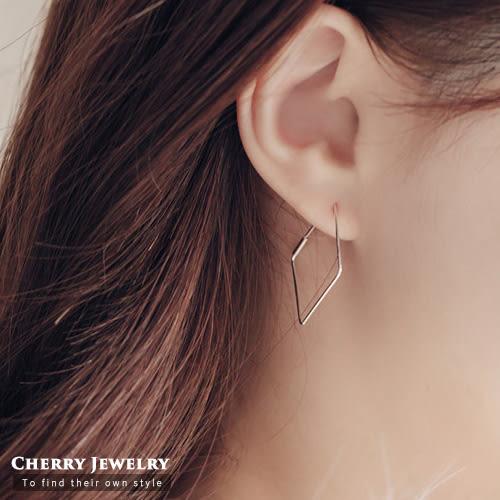 正方形造型耳環 【櫻桃飾品】【10337】