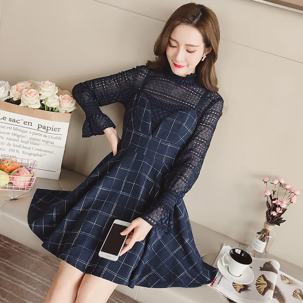 VK精品服飾 韓國風吊帶格子小香風chic長袖百搭背帶套裝長袖裙裝