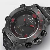 新款時尚休閒雙顯個性多功能電子防水尼龍運動手錶 i萬客居