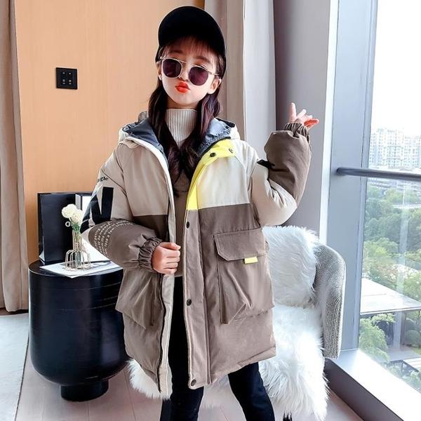 韓版外套中大童上衣 兒童夾克外套加絨棉服 中長款女童外套女孩棉襖 潮流秋冬羽絨服羽絨外套