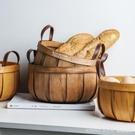 日式手工編織木片收納籃儲物南瓜籃水果籃面包籃野餐手提籃 Lanna YTL