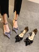 單鞋夏季女2021年新款仙女百搭尖頭粗跟溫柔網紅INS蝴蝶結高跟鞋