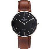【VALENTINO 范倫鐵諾】經典皮革手錶-40mm 71418M黑面鋼色咖啡帶