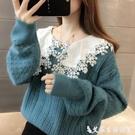 假兩件針織上衣 娃娃領蕾絲拼接假兩件毛衣女秋冬新款韓版寬鬆短款外穿針織衫上衣 艾家
