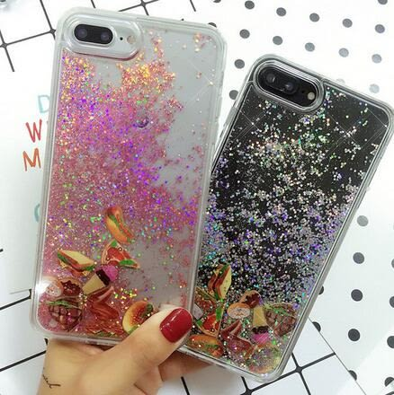 【SZ24】iPhone7 plus手機殼 漢堡三明治流沙 液體流動 軟邊 iPhone6/6s plus手機殼