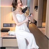風情萬種美胸側開岔細肩帶連身洋裝兩件套(白薄紗罩衫+白細肩帶裙)[99207-QF]小三衣藏