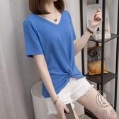 短袖T恤V領大碼寬鬆女裝夏季簡約上衣【小酒窩服飾】