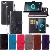 HTC Desire 12+ 幸運草皮套 手機皮套 插卡 支架 可掛繩 磁扣 壓紋皮套