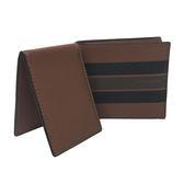 【COACH】經典 LOGO 印花橫紋配色皮革 8卡對折輕便短夾附活動證件夾(深咖/黑橫紋)