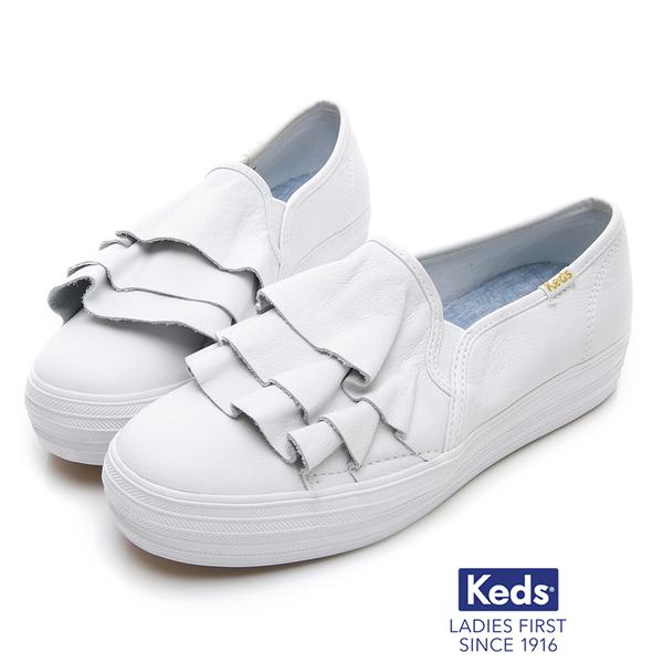 Keds 女鞋 TRIPLE RUFFLE 皮革荷葉休閒鞋 - 白色83W132577