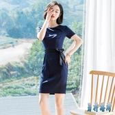 短袖條紋洋裝女2020夏韓版透氣收腰修身顯瘦一步裙職業裝XL3533【男神港灣】