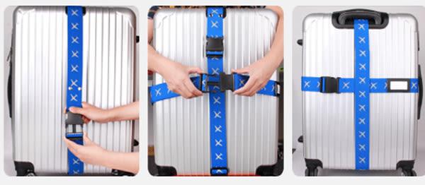 Qmishop 反光色 旅行拉杆箱十字打包帶【J623】