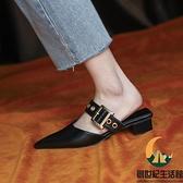 涼鞋女包頭半拖鞋女夏外穿時尚單鞋尖頭涼拖女粗跟【創世紀生活館】