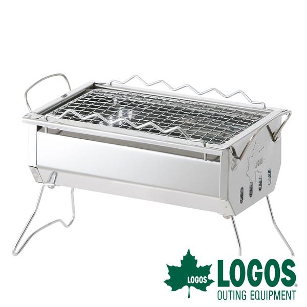 【日本LOGOS】ROSY桌上型燒烤爐 (不鏽鋼 / 腳可摺收) 露營 BBQ 81064170 烤肉架 串燒 BBQ