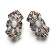 耳環 玫瑰金 925純銀鑲鑽-獨特花紋情人節生日禮物女飾品73gs135【時尚巴黎】