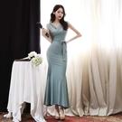 無袖洋裝小禮服 女神範連身裙2021夏季韓版V領性感收腰系帶無袖包臀修身魚尾長裙