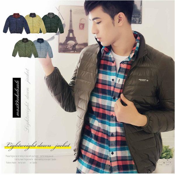 【大盤大】(D598) 土黃 輕量 羽絨衣 羽絨外套 防風外套 保暖夾克 雙色 立領 輕薄【2XL號斷貨】