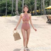 泳衣 韓版新款少女綁帶蝴蝶結性感顯瘦聚攏遮肚泡溫泉三角連體  艾美時尚衣櫥