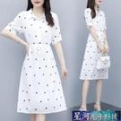 襯衫洋裝 大碼洋裝新款女夏小心機夏裝襯衫裙收腰顯瘦白色印花小清新裙子 星河光年