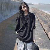 長款上衣 短袖t恤女年夏季超a韓版寬鬆中長款BF純色白色上衣ins潮 晶彩