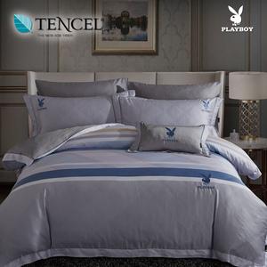 【貝兒寢飾】PLAYBOY 60支萊賽爾天絲兩用被床包+刺繡抱枕五件組(雙人/安卡洛