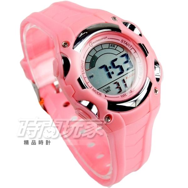 MINGRUI 小巧輕便多功能 計時碼錶 電子錶 學生錶 兒童手錶 女錶 日期 夜光 MR8528粉【時間玩家】