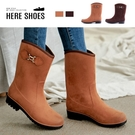 [Here Shoes]晴雨兩穿 防水麂皮絨面 舒適好穿3cm輕量化防滑膠底雨靴 雨鞋 中筒靴-MIT台灣製-KNJ-258