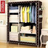 快速出貨-簡易衣櫃布藝布衣櫃鋼管鋼架單人衣櫥組裝雙人收納簡約現代經濟型【限時八九折】