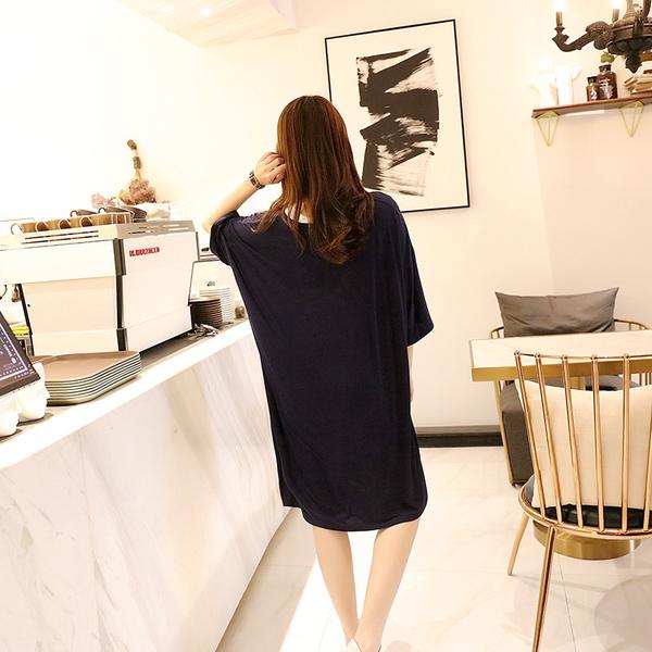 R加肥連衣裙8011# 夏莫代爾短袖連衣裙女韓版睡裙孕婦裙氣質寬鬆大碼中長裙 &小咪的店&