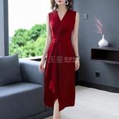 禮服不支持退換 醋酸緞面洋裝2020新款夏真絲裙子高端女裝氣質紅色修身媽媽禮服 滿天星