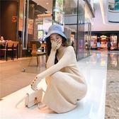 新款ins毛衣女chic連衣裙中長修身針織打底裙顯瘦百褶裙2F014A.6046胖胖唯依