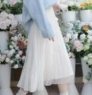 網紗裙 超仙森系網紗拼接半身裙春顯瘦遮胯2021新款冬季中長款仙女裙子【快速出貨八折鉅惠】