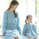韓版圓領藍白拼接色長袖上衣親子裝(女童)