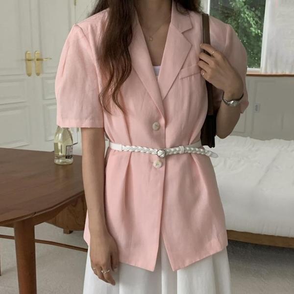 韓國CHIC夏季氣質粉嫩翻領兩粒扣寬松休閑薄款開衫西裝外套配腰帶