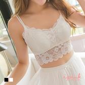 i PINK 雙細繩肩帶甜美花朵蕾絲小可愛 附胸墊(2色)