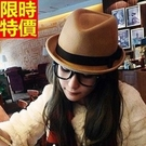 女帽子爵士帽-捲邊毛呢保暖英倫洋氣時尚小禮帽5色67e3【巴黎精品】