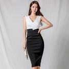 無袖洋裝小禮服 夏裝2021新款女時尚OL氣質V領無袖修身中長款名媛職業包臀連身裙