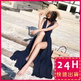 梨卡★現貨 - 波西米亞性感綁帶交叉大露背連身長裙洋裝沙灘裙C6268